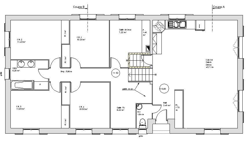plan de maison 4 chambres avec sous sol