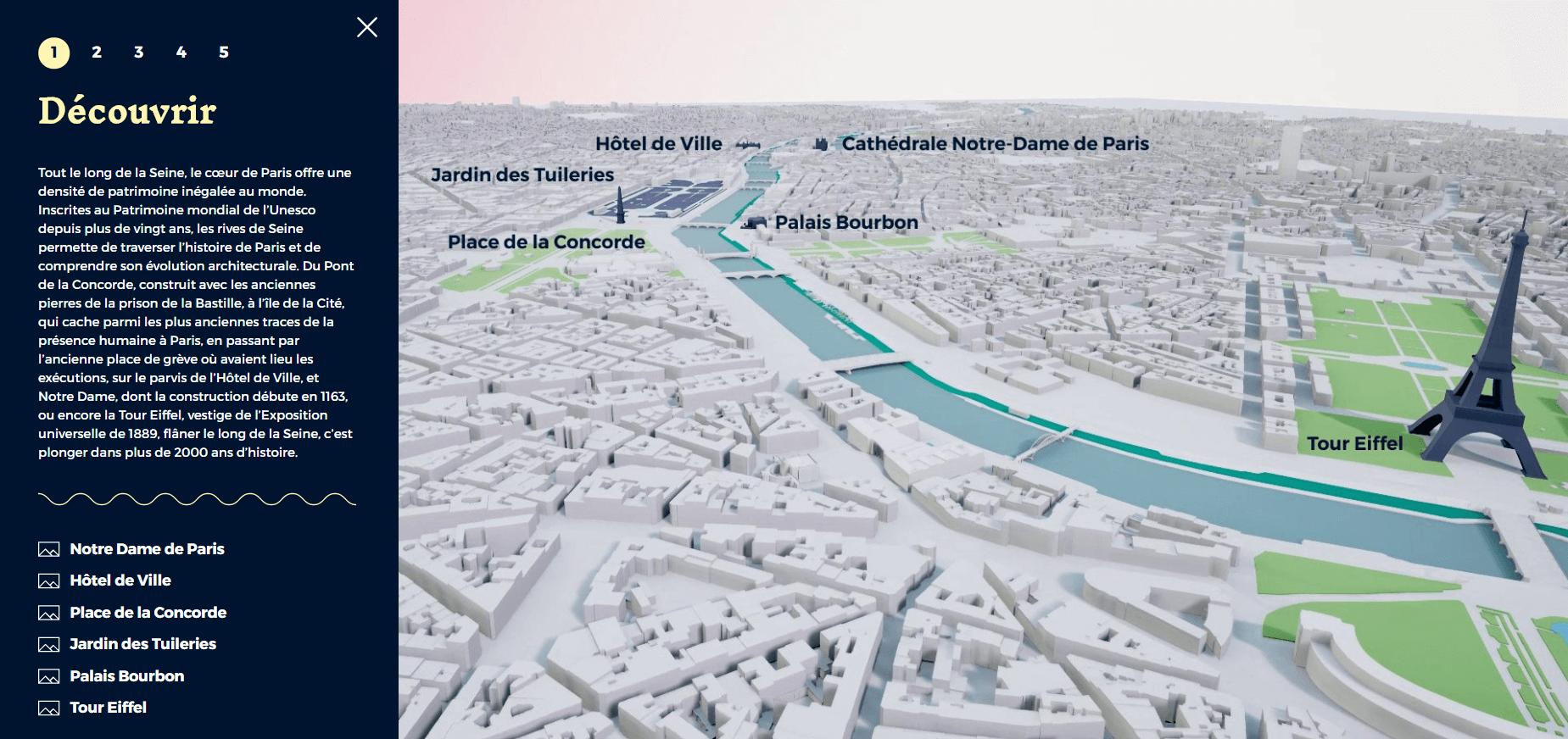 La ville de Paris communique en 3D sur les RIVES DE SEINE